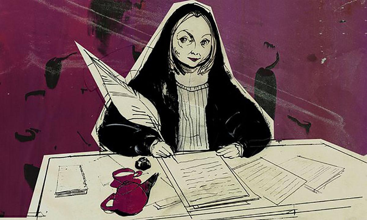 My Writing Day - Hilary Mantel (Alan Vest illustation for Guardian)