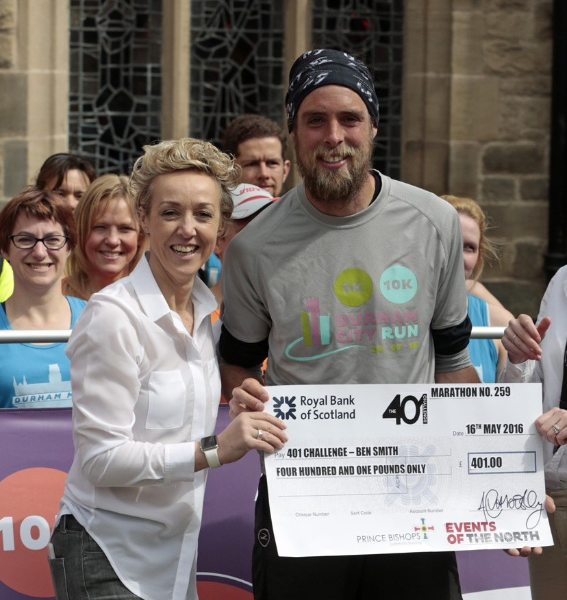 Prince Bishops and Events of the North present a cheque to Ben Smith
